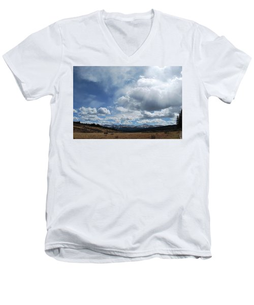 Men's V-Neck T-Shirt featuring the photograph Sky Of Shrine Ridge Trail by Amee Cave