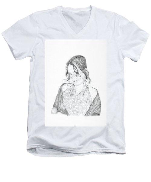 Men's V-Neck T-Shirt featuring the drawing Skye by Mayhem Mediums