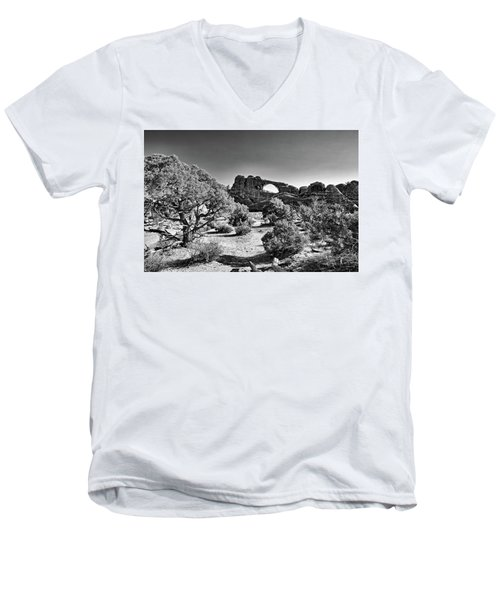 Skyline Arch In Arches National Park Men's V-Neck T-Shirt