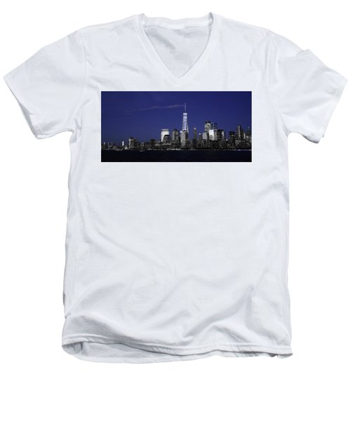 Skyline At Night  Men's V-Neck T-Shirt