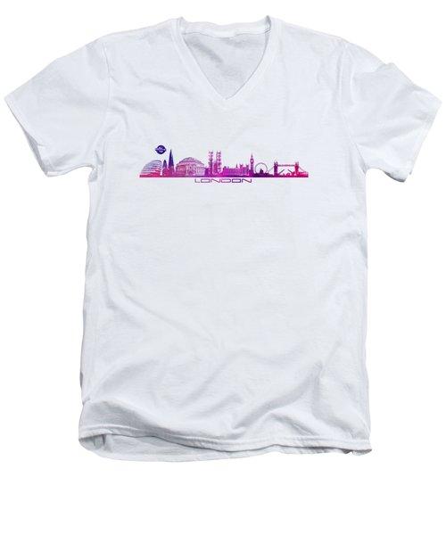 skyline city London purple Men's V-Neck T-Shirt by Justyna JBJart
