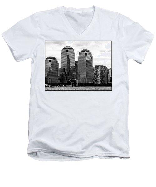 Skyline Nyc River View  Men's V-Neck T-Shirt