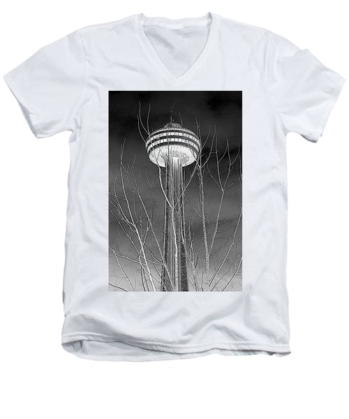 Men's V-Neck T-Shirt featuring the photograph Skylon Tower by Valentino Visentini
