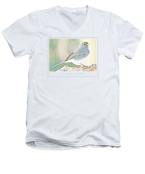 Men's V-Neck T-Shirt featuring the photograph Slate-colored Junco Snowbird Female by A Gurmankin