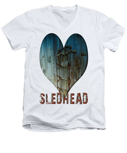 Sledhead Men's V-Neck T-Shirt by Mim White