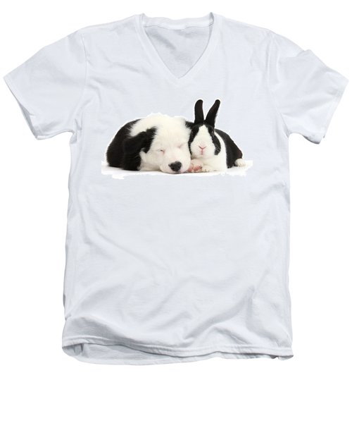 Sleeping In Black And White Men's V-Neck T-Shirt