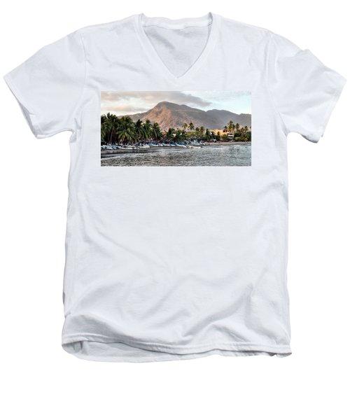Sleepy Fishing Village Men's V-Neck T-Shirt
