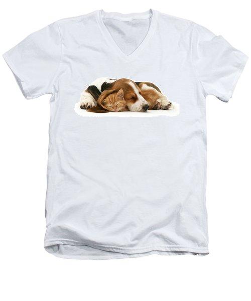 Sleepy Ginger Pals Men's V-Neck T-Shirt