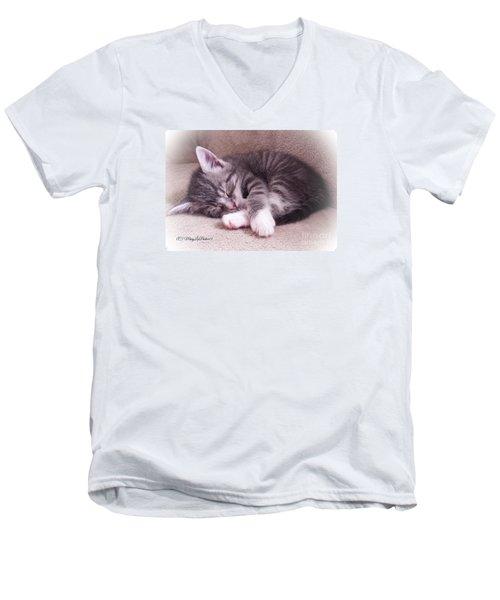 Sleepy Kitten Bymaryleeparker Men's V-Neck T-Shirt by MaryLee Parker