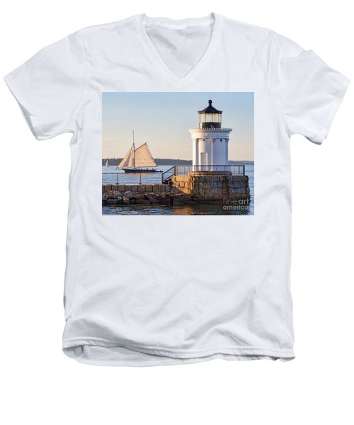 Sloop And Lighthouse, South Portland, Maine  -56170 Men's V-Neck T-Shirt by John Bald