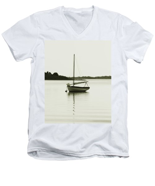 Men's V-Neck T-Shirt featuring the photograph Sloop At Rest  by Roupen  Baker