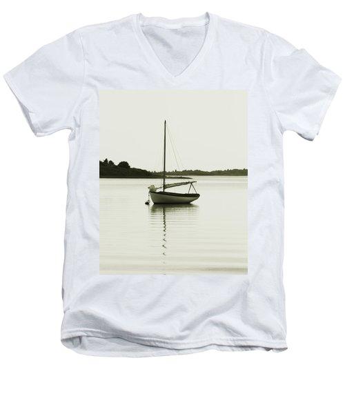 Sloop At Rest  Men's V-Neck T-Shirt by Roupen  Baker