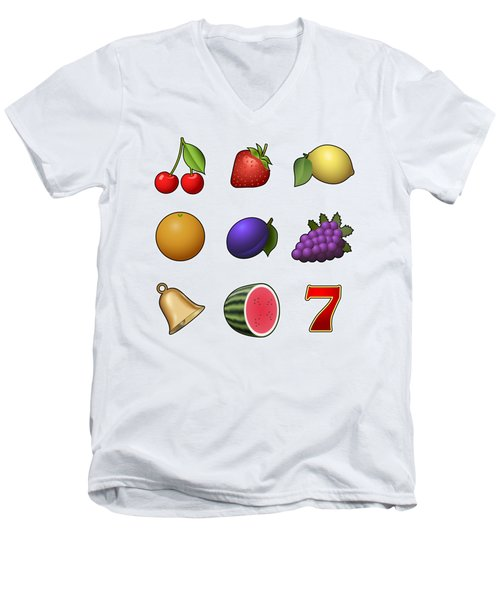 Slot Machine Fruit Symbols Men's V-Neck T-Shirt by Miroslav Nemecek