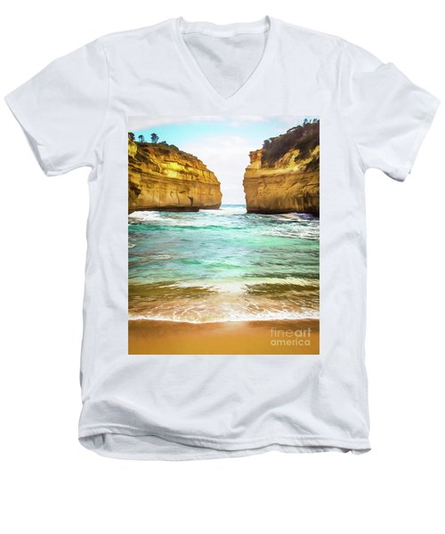 Men's V-Neck T-Shirt featuring the photograph Small Bay by Perry Webster