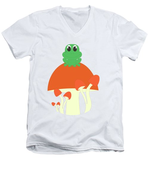 Small Frog Sitting On A Mushroom  Men's V-Neck T-Shirt by Kourai