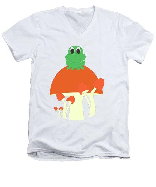 Small Frog Sitting On A Mushroom  Men's V-Neck T-Shirt
