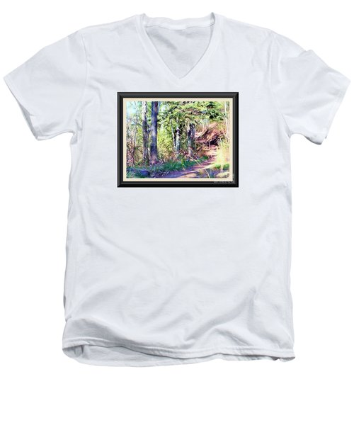 Men's V-Neck T-Shirt featuring the photograph Small Park Scene by Shirley Moravec