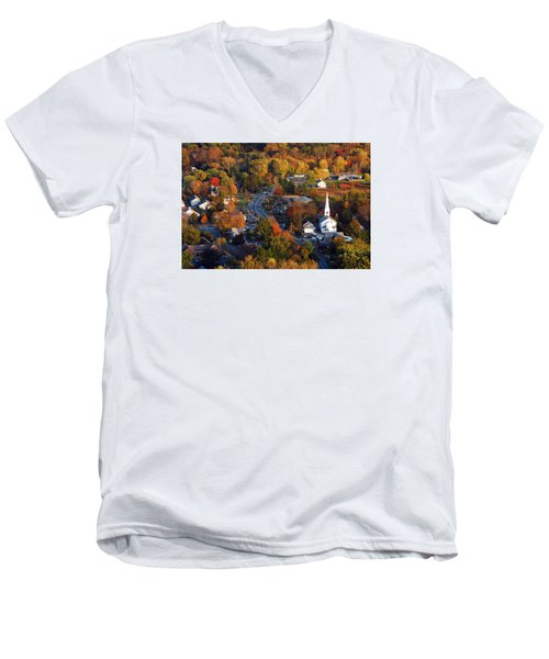 Small Town Aerial Men's V-Neck T-Shirt by James Kirkikis