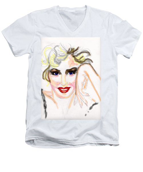 Men's V-Neck T-Shirt featuring the drawing Smile For Me Marilyn by Desline Vitto