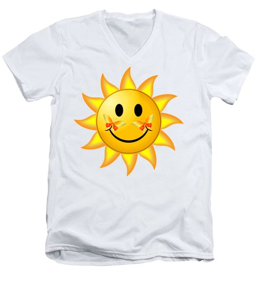 Men's V-Neck T-Shirt featuring the digital art Smiley Face Sun by Robert G Kernodle