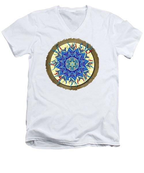 Men's V-Neck T-Shirt featuring the digital art Smiling Blue Moon Mandala by Deborah Smith