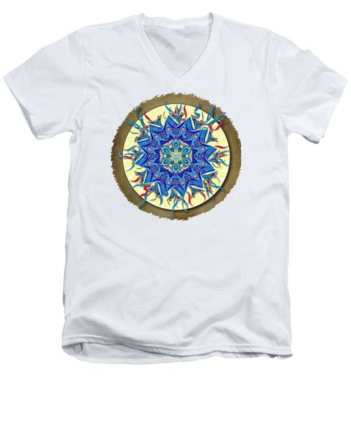 Smiling Blue Moon Mandala Men's V-Neck T-Shirt
