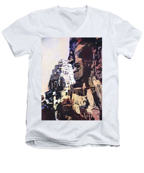 Men's V-Neck T-Shirt featuring the painting Smiling Faces- Bayon Temple, Cambodia by Ryan Fox