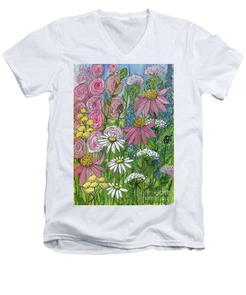 Smiling Flowers Men's V-Neck T-Shirt