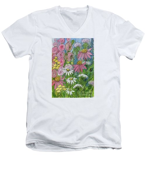 Smiling Flowers Men's V-Neck T-Shirt
