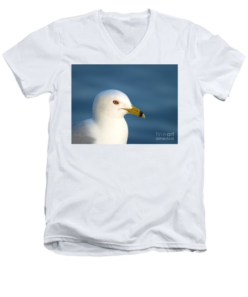 Smiling Seagull Men's V-Neck T-Shirt by Susan Dimitrakopoulos