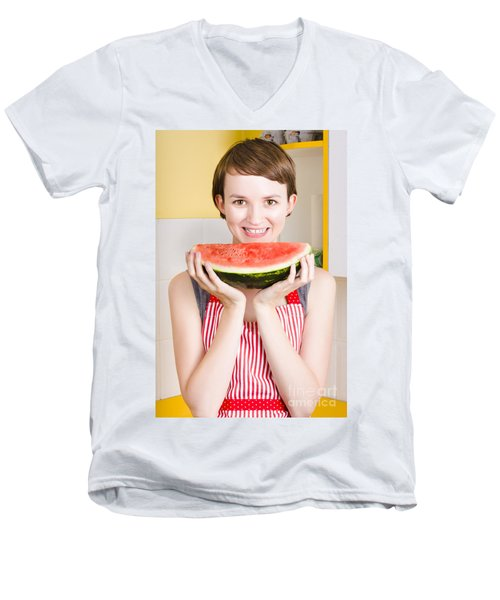 Smiling Young Woman Eating Fresh Fruit Watermelon Men's V-Neck T-Shirt by Jorgo Photography - Wall Art Gallery