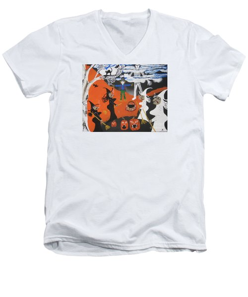 Men's V-Neck T-Shirt featuring the painting Smokey Halloween by Jeffrey Koss