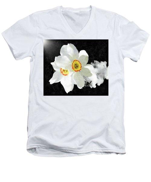 Smokey White Floral Men's V-Neck T-Shirt