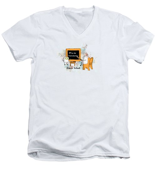 Smore School Illustrated Men's V-Neck T-Shirt by Heather Applegate