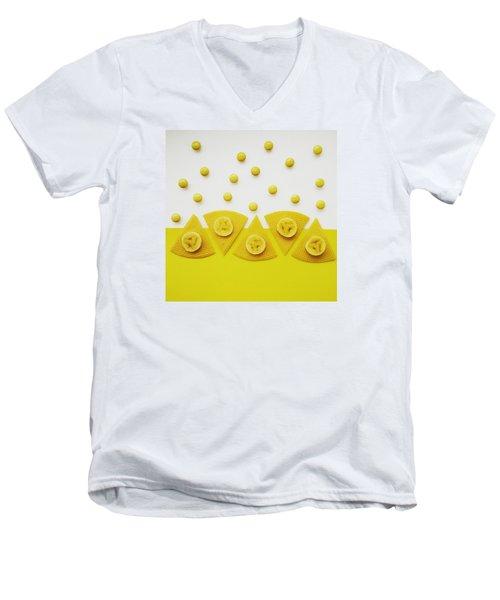 Yellow Snack Men's V-Neck T-Shirt by Ann Foo