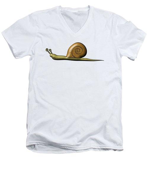 Snail Men's V-Neck T-Shirt by Michal Boubin