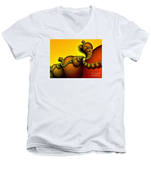 Men's V-Neck T-Shirt featuring the digital art Snails Convoy by Karin Kuhlmann