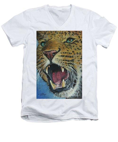 Snarl...amur Leopard Men's V-Neck T-Shirt
