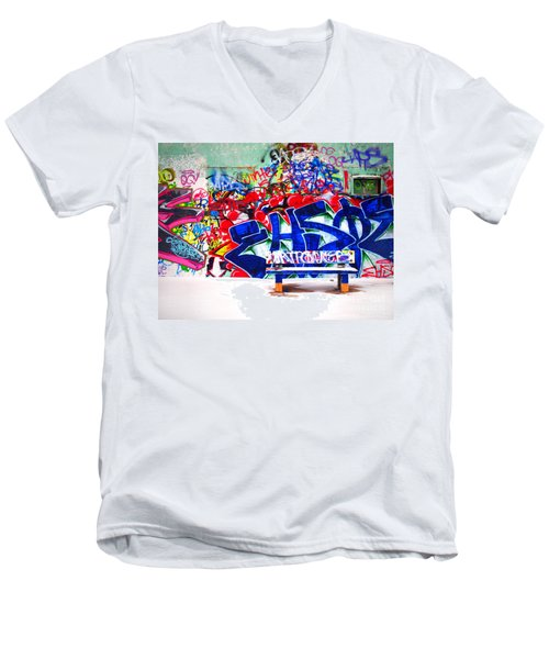 Snow And Graffiti Men's V-Neck T-Shirt