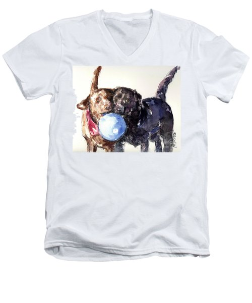 Men's V-Neck T-Shirt featuring the painting Snow Ball by Molly Poole