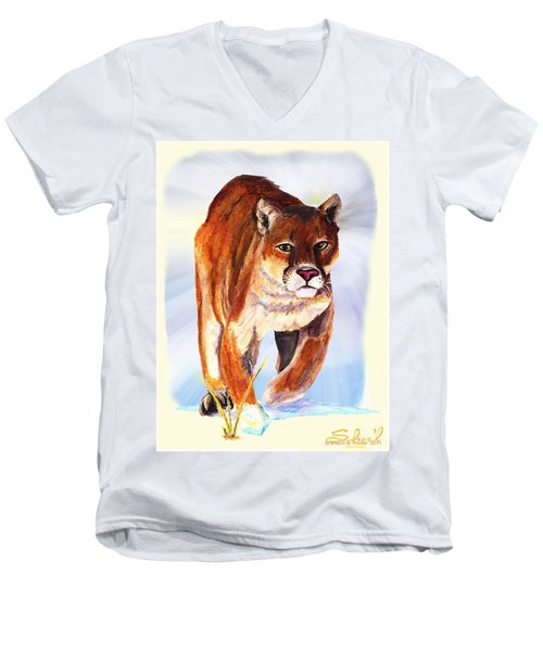 Men's V-Neck T-Shirt featuring the painting Snow Cougar by Sherril Porter