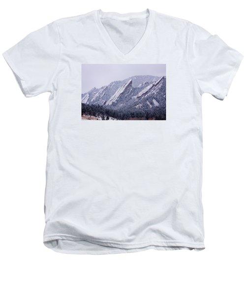 Snow Dusted Flatirons Boulder Colorado Men's V-Neck T-Shirt by James BO  Insogna