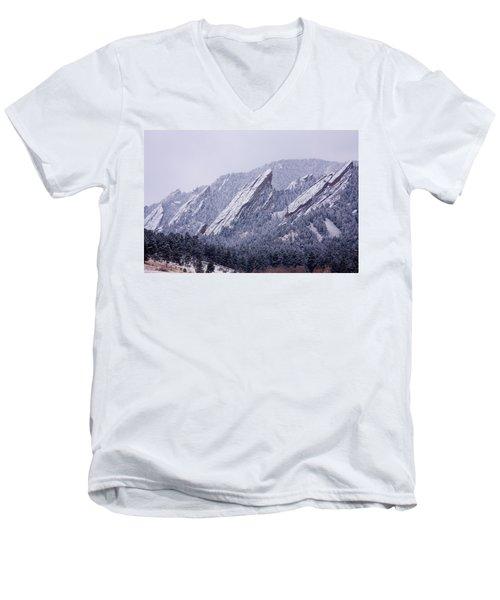 Snow Dusted Flatirons Boulder Colorado Men's V-Neck T-Shirt
