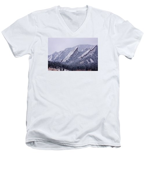 Snow Dusted Flatirons Boulder Colorado Men's V-Neck T-Shirt
