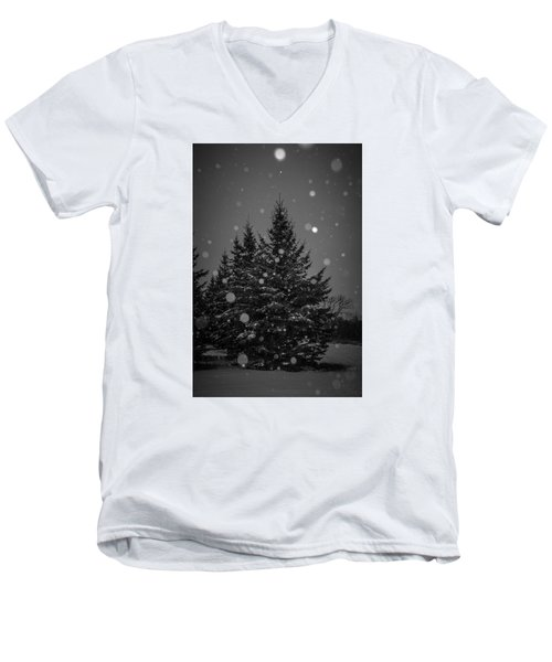 Men's V-Neck T-Shirt featuring the photograph Snow Flakes by Annette Berglund
