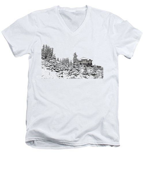 Men's V-Neck T-Shirt featuring the photograph Snow In July 2 by Teresa Zieba