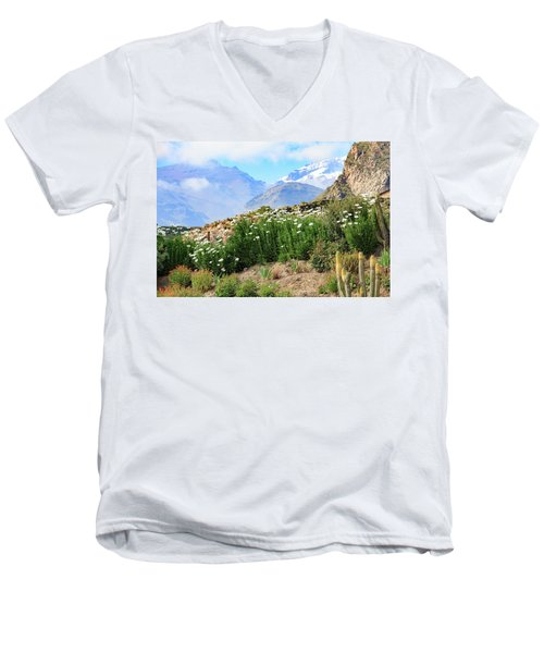 Men's V-Neck T-Shirt featuring the photograph Snow In The Desert by David Chandler