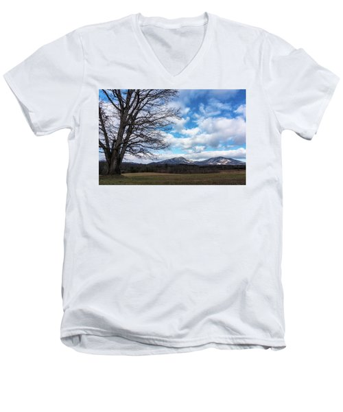 Snow In The High Mountains Men's V-Neck T-Shirt by Steve Hurt