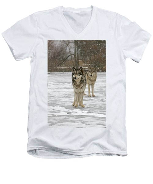 Men's V-Neck T-Shirt featuring the photograph Snow Mates by Shari Jardina
