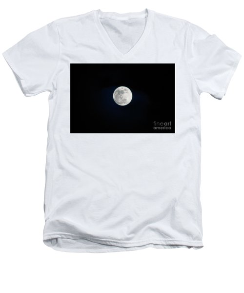 Snow Moon 4 Men's V-Neck T-Shirt by Janie Johnson